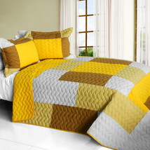 [Crazy Boxes - B] Cotton Vermicelli-Quilted Patchwork Geometric Quilt Set Full/Q - $101.99