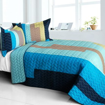 [Classic Playbook - A] Cotton Vermicelli-Quilted Patchwork Striped Quilt Set Ful - $101.99