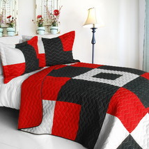 [Some Like It Hot] Cotton Vermicelli-Quilted Patchwork Geometric Quilt Set Full/ - $101.99