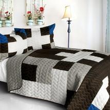 [Milky Quartz - B] Cotton Vermicelli-Quilted Patchwork Geometric Quilt Set Full/ - $101.99
