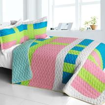 [Lollipops - A] Cotton Vermicelli-Quilted Patchwork Geometric Quilt Set Full/Que - $101.99