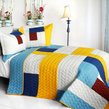 [Timeless - B] Cotton Vermicelli-Quilted Patchwork Geometric Quilt Set Full/Quee - $101.99