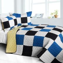 [Delicate Plaid - A] Cotton Vermicelli-Quilted Patchwork Plaid Quilt Set Full/Qu - $101.99