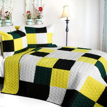 [Smashing Patchword - B] Cotton Vermicelli-Quilted Patchwork Quilt Set Full/Quee - $101.99