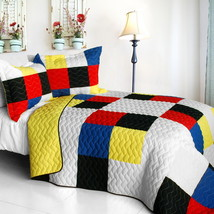 [Smashing Patchword - A] Cotton Vermicelli-Quilted Patchwork Quilt Set Full/Quee - $101.99