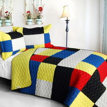 [Fantastic Beauty] Cotton Vermicelli-Quilted Patchwork Plaid Quilt Set Full/Quee - $101.99