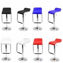 Set of 2 Leather Bar Stools Swivel Dinning Counter Square Seat Adjustabl... - $68.99