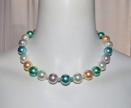 ESMOR Blue Green White Beaded Necklace Faux Pearl Fashion Short Costume ... - $9.47