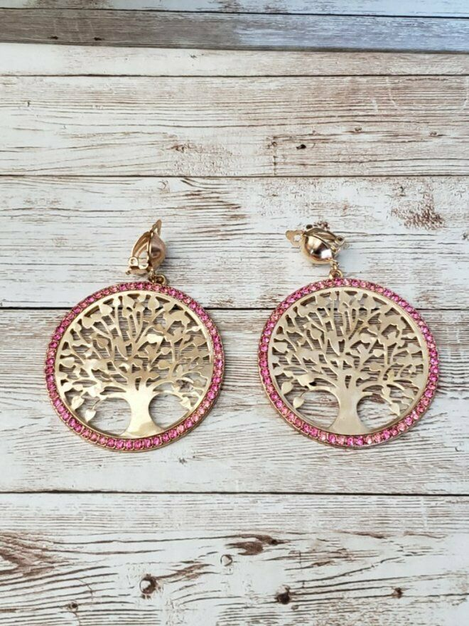 Primary image for Vintage Clip On Earrings Large Statement Gold Tone & Pink Stone Tree