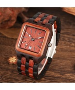 Unique Rectangle Dial Watch Men Red Sandalwood Wood Watch Mens with Full... - $65.00
