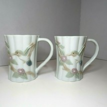 Otagiri White Embossed Coffee Tea Mugs with Hummingbirds Dogwood Flowers... - $11.29