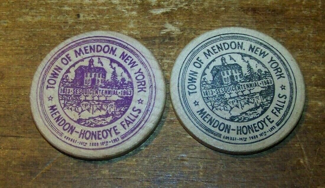 Primary image for LOT 2 VINTAGE HONEOYE FALLS MENDON NY WOODEN NICKEL