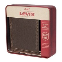 Levi's Men's Rfid Extra Capacity Zipper Coin Credit Card ID Bifold Wallet