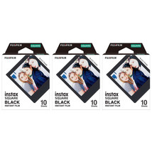 3 Packs 30 Photos Black Frame FujiFilm Instax SQUARE Film Polaroid Camer... - $39.99