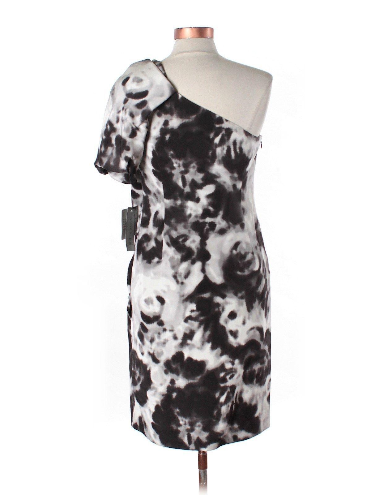 Anne Klein Asymmetric Silk Cocktail Evening Dress One shoulder NWT 6 M Black