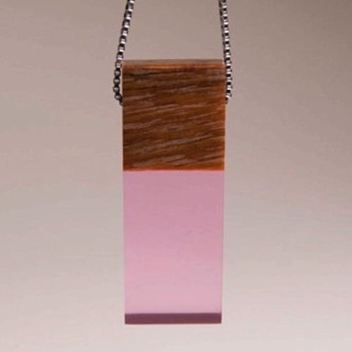 Custom Mahogany Wood Pink Resin Pendant Sterling Chain Gift Boxed Mother's Day