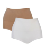 Nearly Nude 2 pack Contour Smoothing Brief in White/Nude, S/M  (584836) - $17.81