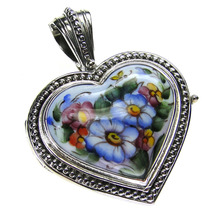 Gerochristo 3425 - Sterling Silver & Painted Porcelain Heart Locket Pend... - $510.00