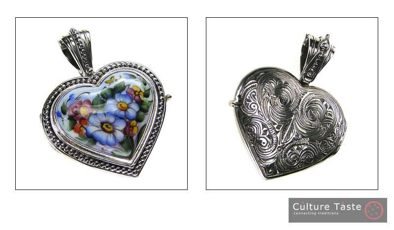 Gerochristo 3425 - Sterling Silver & Painted Porcelain Heart Locket Pendant -L