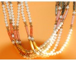 Vintage 6 strand bead necklace - bone color, peach, apricot - ethnic style, hand