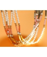 Vintage 6 strand bead necklace - bone color, peach, apricot - ethnic sty... - $10.84