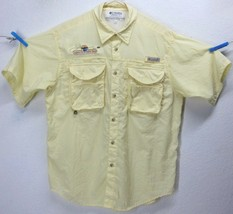Columbia Pfg Bighorn Fly & Tackle (M) Yellow Vented S/S Button Front Tech Shirt - $9.89