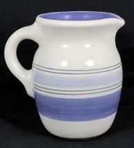 "Pfaltzgraff Rio Pitcher Blue White Striped Banded Ceramic 5 3/4"" Height - $19.79"
