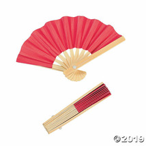 Red Mini Bamboo Fans, Set of 12, Choose from 6 colors - $16.41