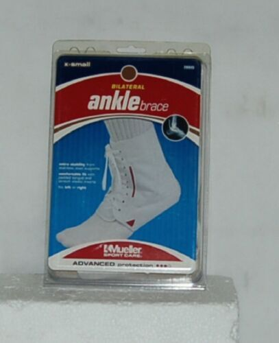 Mueller Sport Care 208XS ExtraSmall Bilateral Ankle Brace White Laces Left Right