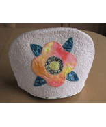 Quilted Tea Cosy, Machine Quilting Hand Appliqued, Flower Trim, Cotton Cozy - $7.94