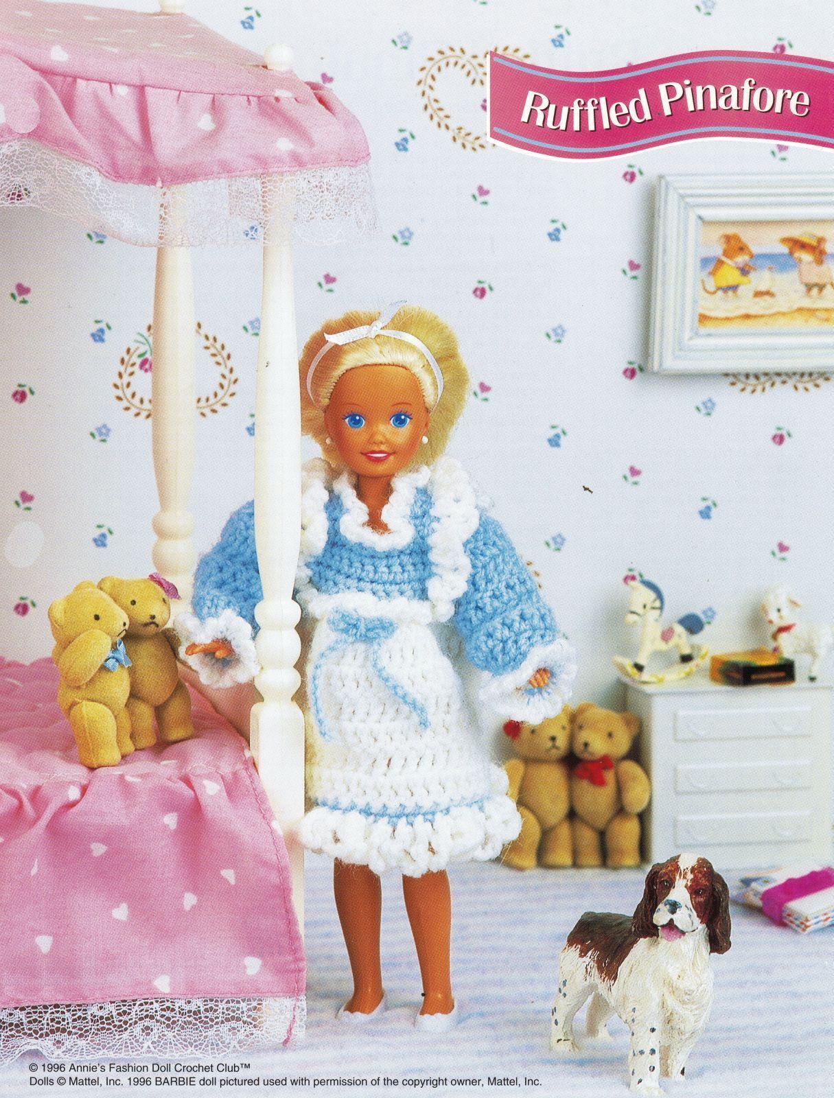 "9-1/2"" Fashion Doll Play Friends Ruffled Pinafore Crop Top Short Crochet Pattern image 3"