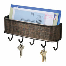 Bronze Metal Finish Wall Door Mount Keys Letters Postal Storage Basket Rack NEW - $27.78