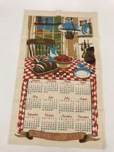 Towel Linen Calendar Vintage Kitchen Tea Wall Dish Hanging Retro 1977 - $12.86