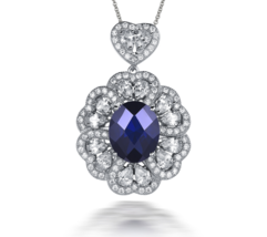 6.58ct Sapphire Real 925 Sterling Silver Pendants - $99.99