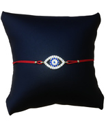 Large Crystal Evil Eye String Bracelet, Red Cord and Gold Plated - $12.99