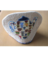 Quilted Tea Cosy Machine Quilting Hand Appliqued Teapot Beige Tan Blue H... - $7.94
