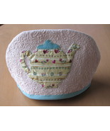 Quilted Tea Cosy Machine Quilting Hand Applique Teapot Beige Tan Green Trim - $7.94