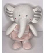 Living Textiles Plush Toy AMELIA ELEPHANT Knit Stuffed Animal Baby Rattle  - $29.02