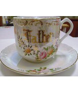 Large Luster Ware Father Cup and Saucer Set - $8.00