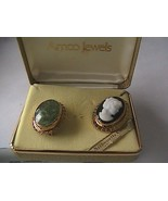 AMCO Set of 2 Vintage 14k Overlay Jade and Silhouette Cameo Brooch - $30.00