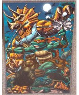 TMNT Michelangelo vs Triceratops Glossy Print 1... - $24.99