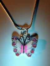 Pretty Pink Enamel Rhinestone Butterfly Necklace Pendant - $8.00