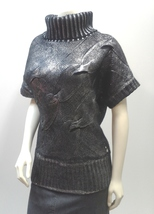Black Sweater Top, Silver Metallic, Cowl Neck, Cable Knit, Short Sleeve - $12.99