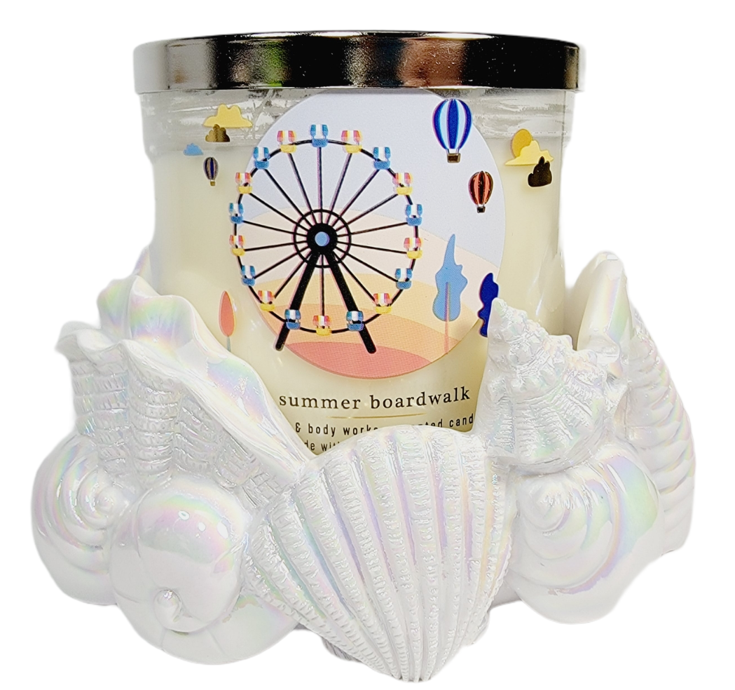 Bath Body Works Candle Holder 3 Wick SEA SHELL CLAM Iridescent White Ceramic NEW - $54.44