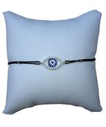 Large Crystal Evil Eye String Bracelet, Black Cord and Silver Plated - $12.99