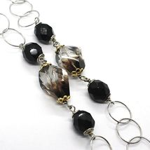 Necklace Silver 925, Ovals Satin Yellow, Nugget Bicolor, Chain Rolo ' , 60 CM image 4