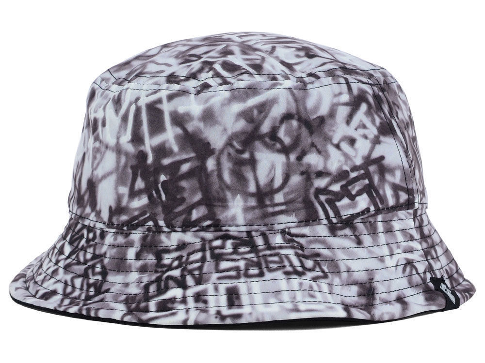 Famous Writer Bucket Hat Cap Large (L) Size Black Gray White
