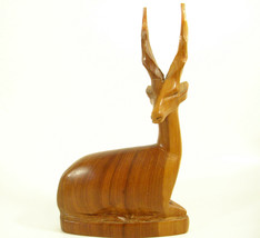 Vintage Impala Gazelle Hand Carved Wood Sculpture Figurine Antelope Mid ... - $14.85