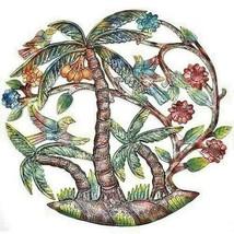 "Wall Hanging PALM TREE BIRDS  Global Haiti  24"" Hand Made Painted SHIPS ... - $78.21"