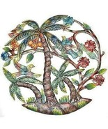 "Wall Hanging PALM TREE BIRDS  Global Haiti  24"" Hand Made Painted SHIPS ... - $78.21"